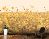 Vintage Yellow Flower Meadow mural wallpaper kitchen preview