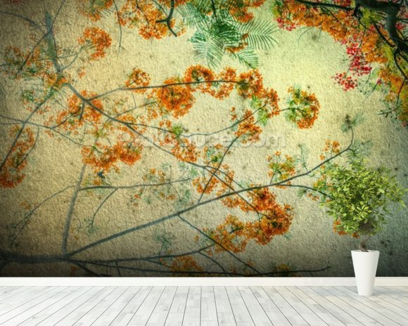 Vintage flowers wallpaper wall mural wallsauce usa for Mural wallpaper vintage