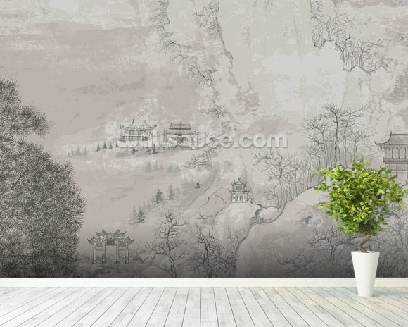 Chinese landscape wallpaper wall mural wallsauce usa for Deer landscape wall mural