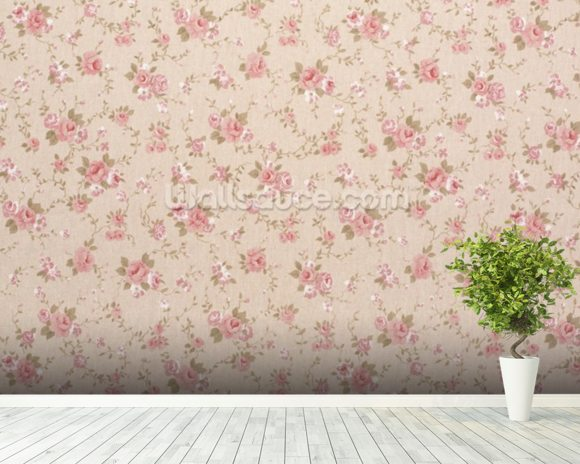 Tapestry Rose Floral wall mural room setting