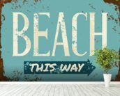Beach Tin Sign wall mural in-room view