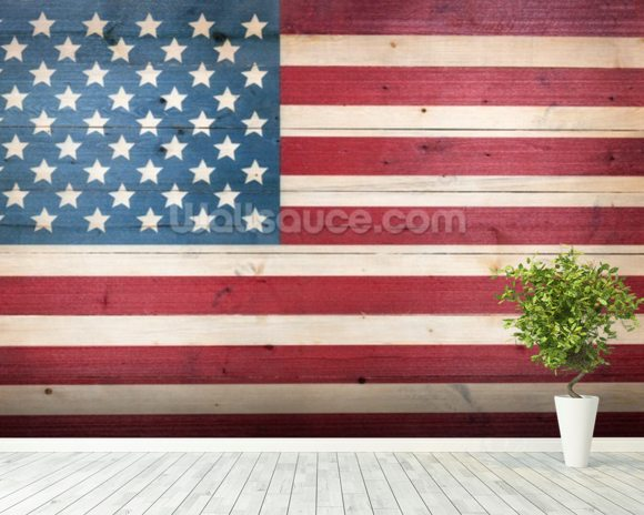Stars and Stripes on Wood wallpaper mural room setting