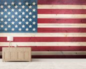 Stars and Stripes on Wood wallpaper mural living room preview