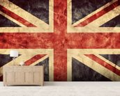 Vintage Union Jack mural wallpaper living room preview
