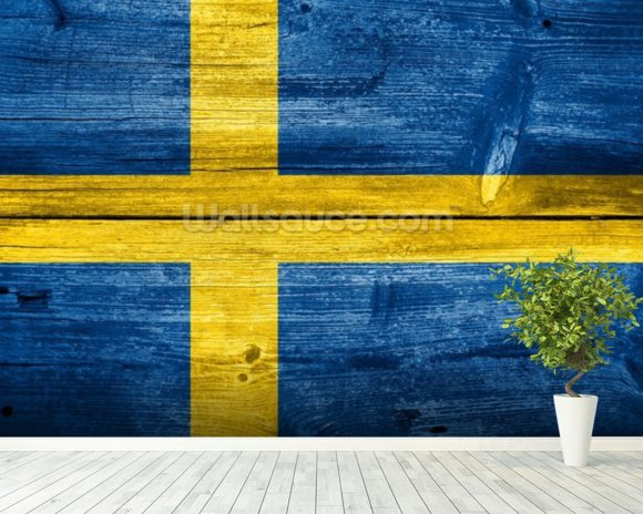 Vintage Swedish Flag on Wood wall mural room setting