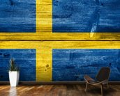 Vintage Swedish Flag on Wood wall mural kitchen preview