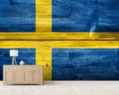 Vintage Swedish Flag on Wood wall mural living room preview