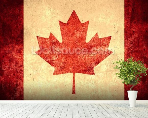 Canadian Flag wallpaper mural room setting