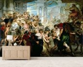 The Rape of the Sabine Women, c.1635-40 (oil on panel) mural wallpaper living room preview