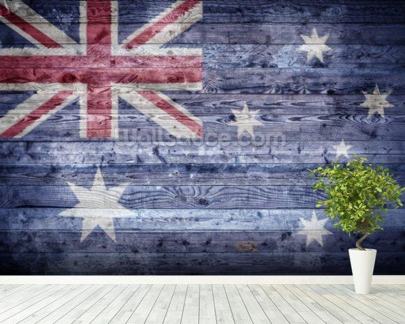 Australian flag on wood wallpaper wall mural wallsauce usa for Australian mural