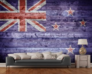 New Zealand Flag on Wood wall mural
