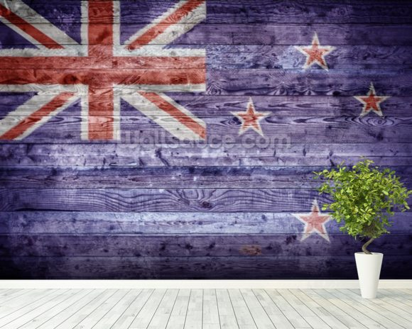 New Zealand Flag on Wood wall mural room setting