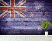 New Zealand Flag on Wood wall mural in-room view