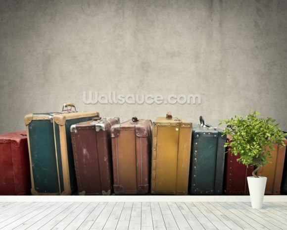 Suitcases wall mural room setting