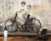 Little Children on a Bicycle mural wallpaper kitchen preview