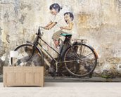 Little Children on a Bicycle mural wallpaper living room preview