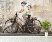 Little Children on a Bicycle mural wallpaper in-room view