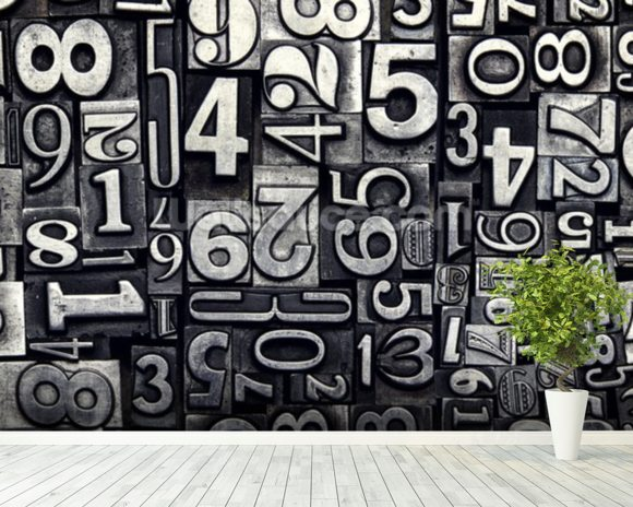 Old Metal Numbers mural wallpaper room setting