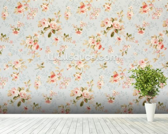 Rose Floral Tapestry wallpaper mural room setting