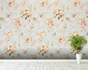 Rose Floral Tapestry wallpaper mural in-room view