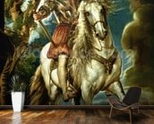 Equestrian portrait of the Duke of Lerma (1553-1625) 1603 (oil on canvas) wallpaper mural kitchen preview