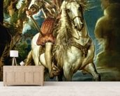 Equestrian portrait of the Duke of Lerma (1553-1625) 1603 (oil on canvas) wallpaper mural living room preview