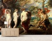 The Judgement of Paris, c.1632-35 (oil on panel) mural wallpaper living room preview