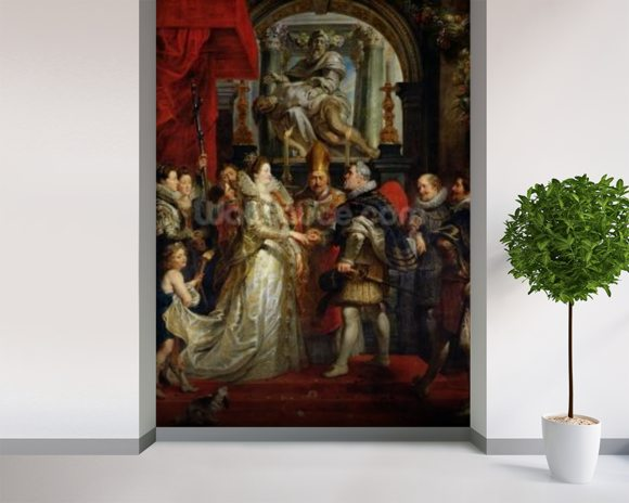 The Proxy Marriage of Marie de Medici (1573-1642) and Henri IV (1573-1642) 5th October 1600, 1621-25 (oil on canvas) mural wallpaper room setting