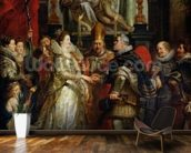 The Proxy Marriage of Marie de Medici (1573-1642) and Henri IV (1573-1642) 5th October 1600, 1621-25 (oil on canvas) mural wallpaper kitchen preview