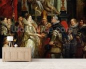 The Proxy Marriage of Marie de Medici (1573-1642) and Henri IV (1573-1642) 5th October 1600, 1621-25 (oil on canvas) mural wallpaper living room preview
