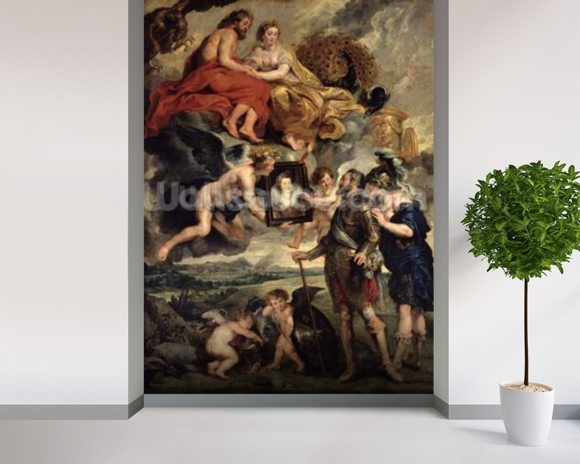 The Medici Cycle: Henri IV (1553-1610) Receiving the Portrait of Marie de Medici (1573-1642) 1621-25 (oil on canvas) wall mural room setting