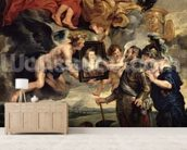 The Medici Cycle: Henri IV (1553-1610) Receiving the Portrait of Marie de Medici (1573-1642) 1621-25 (oil on canvas) wall mural living room preview