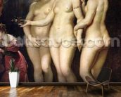 The Medici Cycle: Education of Marie de Medici, detail of the Three Graces, 1621-25 (oil on canvas) wallpaper mural kitchen preview