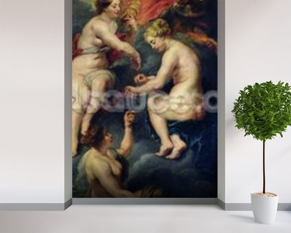 The Medici Cycle: The Three Fates Foretelling the Future of Marie de Medici (1573-1642) 1621-25 (oil on canvas) wallpaper mural room setting