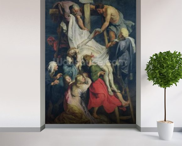 Descent from the Cross, 1617 (oil on canvas) mural wallpaper room setting