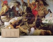 Hippopotamus and Crocodile Hunt, c.1615-16 (oil on canvas) (see 170972 for detail) mural wallpaper living room preview