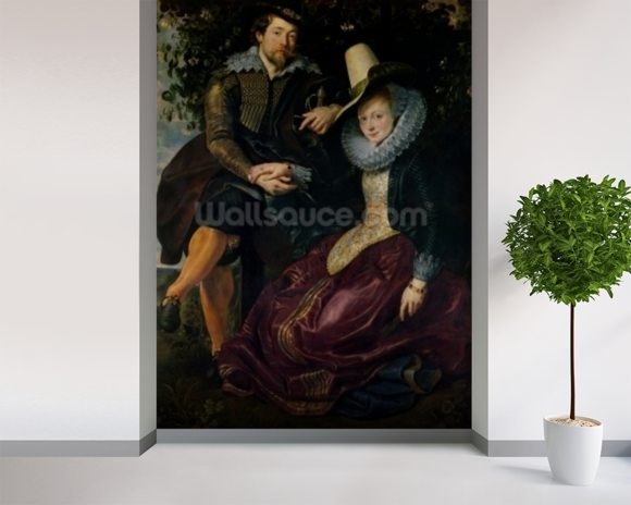 Self portrait with Isabella Brandt, his first wife, in the honeysuckle bower, c.1609 (oil on canvas) mural wallpaper room setting