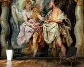 The Prophet Elijah and the Angel in the Wilderness, c.1626-28 (panel) mural wallpaper kitchen preview