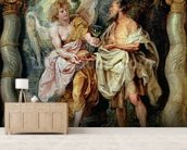 The Prophet Elijah and the Angel in the Wilderness, c.1626-28 (panel) mural wallpaper living room preview