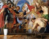 Abraham and Melchizedek, 1615-18 (oil on panel) wallpaper mural kitchen preview