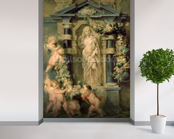 Statue of Ceres, c.1615 (oil on panel) mural wallpaper room setting