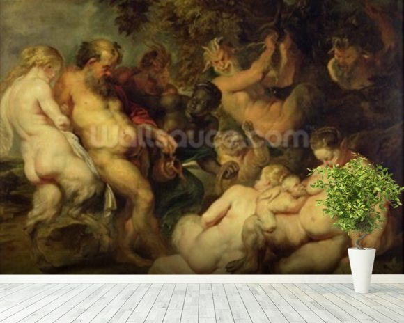 Bacchanal wall mural room setting