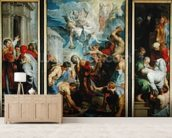 The Martyrdom of St. Stephen, c.1617 (oil on panel) mural wallpaper living room preview