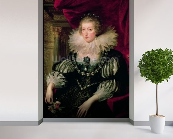 Portrait of Anne of Austria (1601-66) Infanta of Spain, Queen of France and Navarre (oil on canvas) mural wallpaper room setting