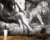 Daniel in the Lions Den, engraved by Abraham Blooteling (1640-90) (engraving) (b/w photo) mural wallpaper kitchen preview