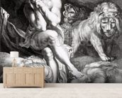 Daniel in the Lions Den, engraved by Abraham Blooteling (1640-90) (engraving) (b/w photo) mural wallpaper living room preview