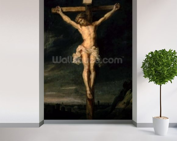 The Crucifixion (oil on canvas) wallpaper mural room setting