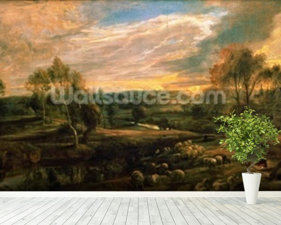 A Landscape with a Shepherd and his Flock, c.1638 (oil on oak) wall mural room setting