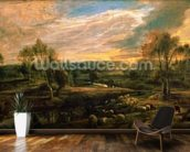 A Landscape with a Shepherd and his Flock, c.1638 (oil on oak) wall mural kitchen preview