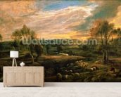 A Landscape with a Shepherd and his Flock, c.1638 (oil on oak) wall mural living room preview